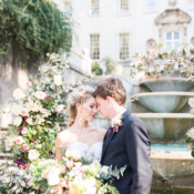 Romantic Pink and Green Outdoor Garden Wedding Flowers