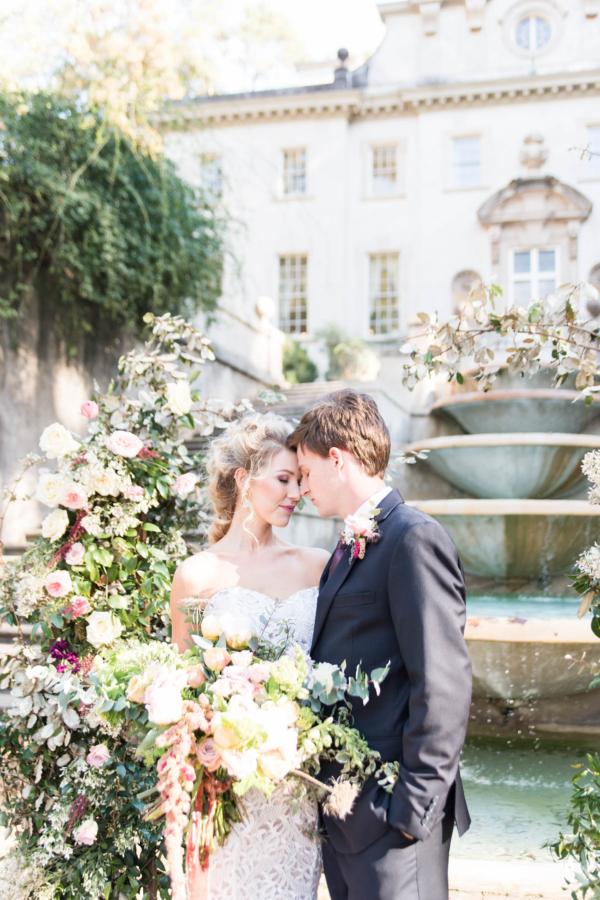 Romantic Pink and Green Outdoor Garden Wedding Flowers