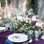 Royal Purple and Green Wedding Table