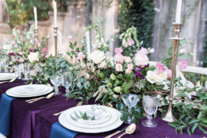 Royal Purple and Green Wedding Table