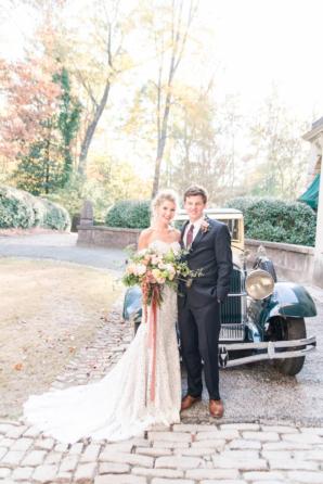 Vintage Car with Bride and Groom