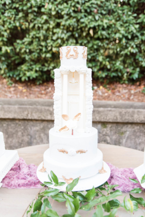 Wedding Cake with Chandelier and Pillars