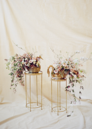Wedding Flowers in Coral Burgundy and Gold