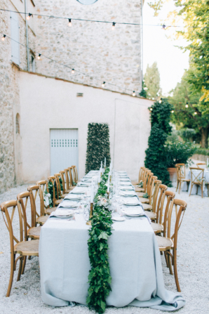 Wedding Reception with Greenery and String Lights