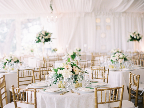 White and Green Tent Wedding