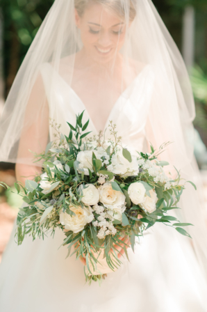 Bridal Bouquet with Greenery and Ivory Blooms