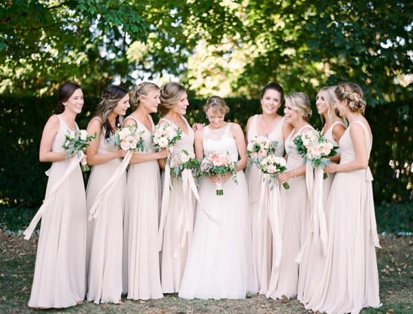 Bridesmaids in Taupe Dresses