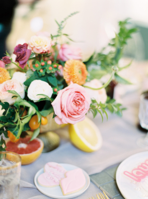 Garden Rose and Fruit Centerpiece