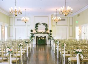 Gold and Green Indoor Ballroom Wedding Ceremony