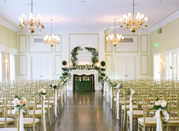 Gold and Green Indoor Ballroom Wedding Ceremony