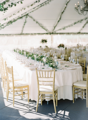 Green Gold White Romantic Wedding Tent