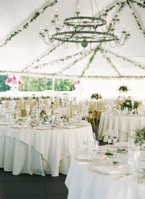 Green White Gold Spring Wedding Tent