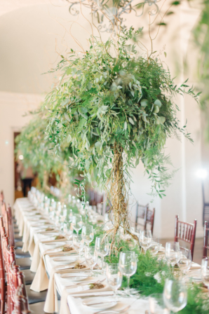 Greenery Tree Centerpieces at Wedding
