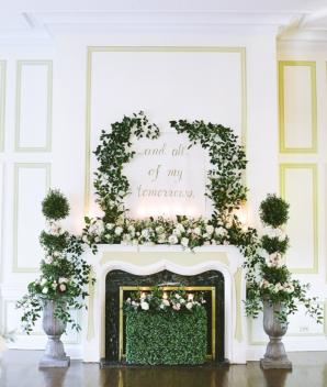 Greenery Wedding Altar at Fireplace