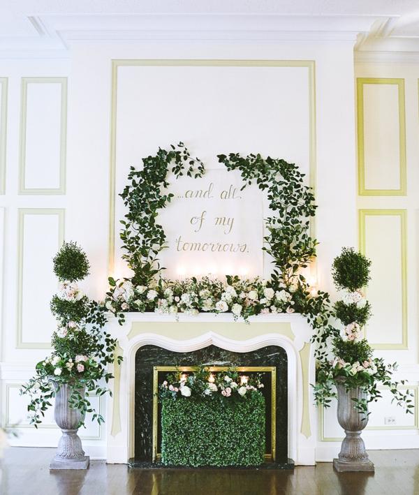 Greenery Wedding Altar at Fireplace - Elizabeth Anne Designs: The ...