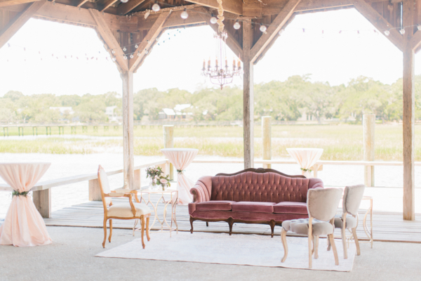 Mauve and Gray Wedding Lounge Area