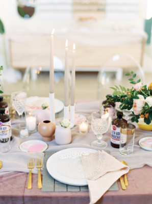Modern White Party Place Setting