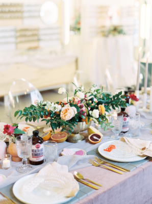 Orange and Blush Wedding Table