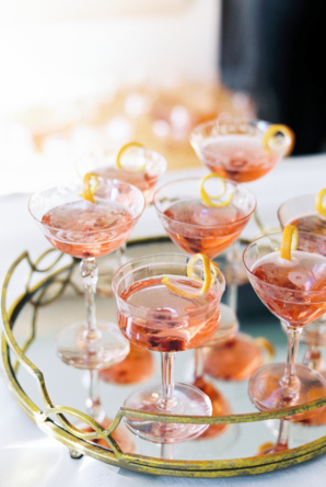 Pink Cocktails in Vintage Tray