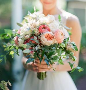 Pink Peach White Bridal Bouquet