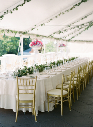 Romantic Green and Gold Tent Wedding
