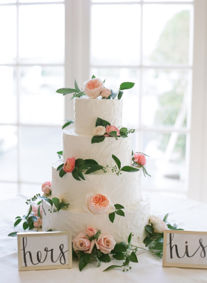 Wedding Cake with Pink Garden Roses