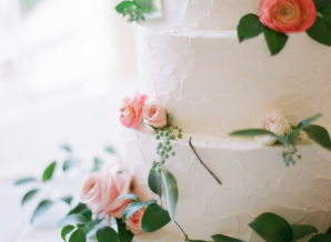 Wedding Cake with Pink Roses