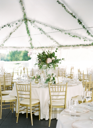 White Gold Green Wedding Tent