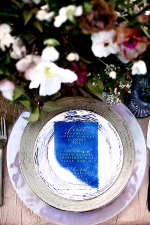 Acrylic Blue Wedding Menu
