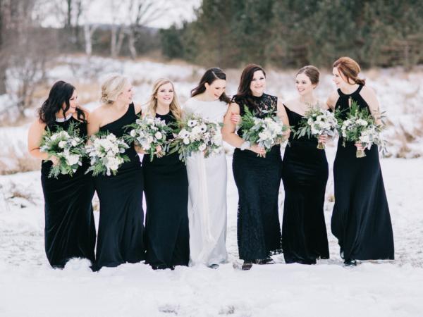 Black Bridesmaids Dresses in Winter
