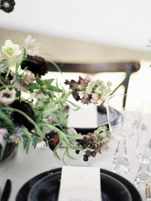 Black Burgundy and White Modern Wedding Table