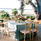 Blue and Gold Elegant Whimsical Wedding Reception