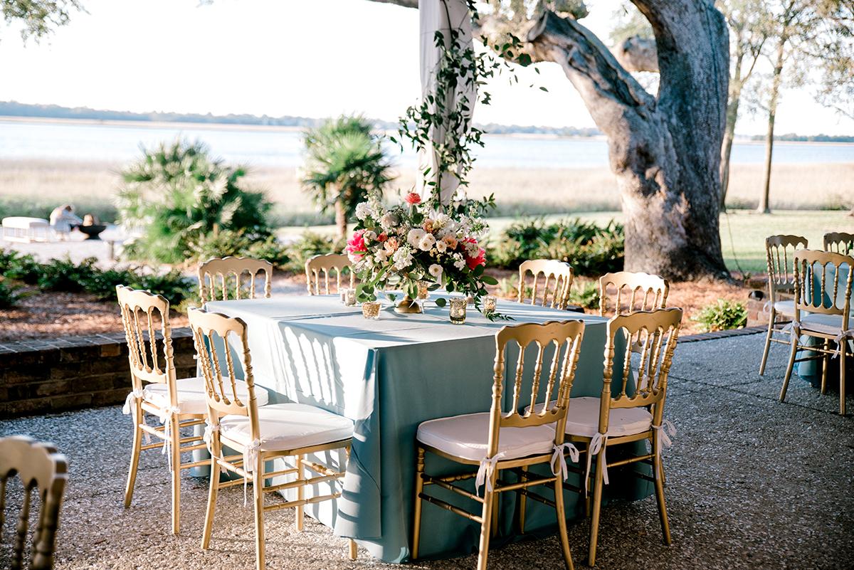 Blue and Gold Elegant Whimsical Wedding Reception