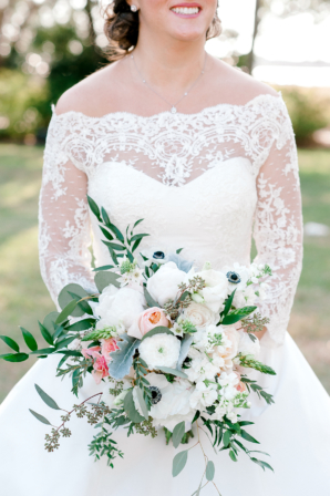 Bride with Anemone and Peony Bouquet