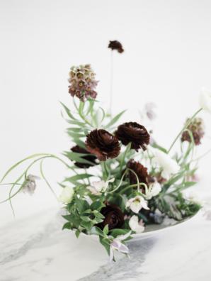 Burgundy and Green Ikebana Wedding Flowers