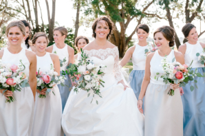 Color Blocked Bridesmaids Dresses