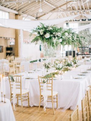 Green Gold and White Wedding Reception