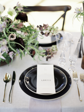 Modern Wedding Table with Black Plates