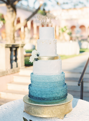 Ombre White and Blue Wedding Cake