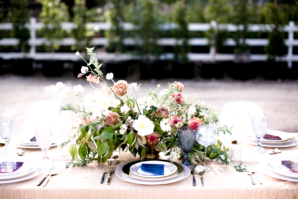 Peach and Blue Wedding Table