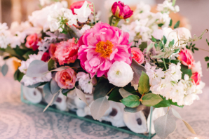 Pink and White Wedding Centerpiece