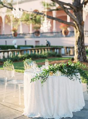 Sweetheart Table Greenery Centerpiece