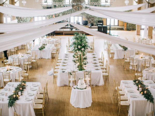White Gold and Green Wedding Reception