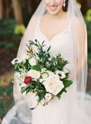 White and Green Bouquet with Pops of Red