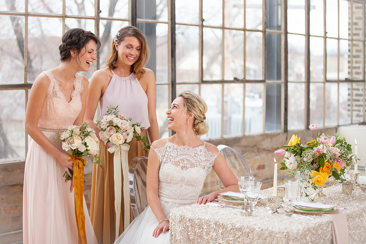 Blush and Chartreuse Bridesmaids Dresses