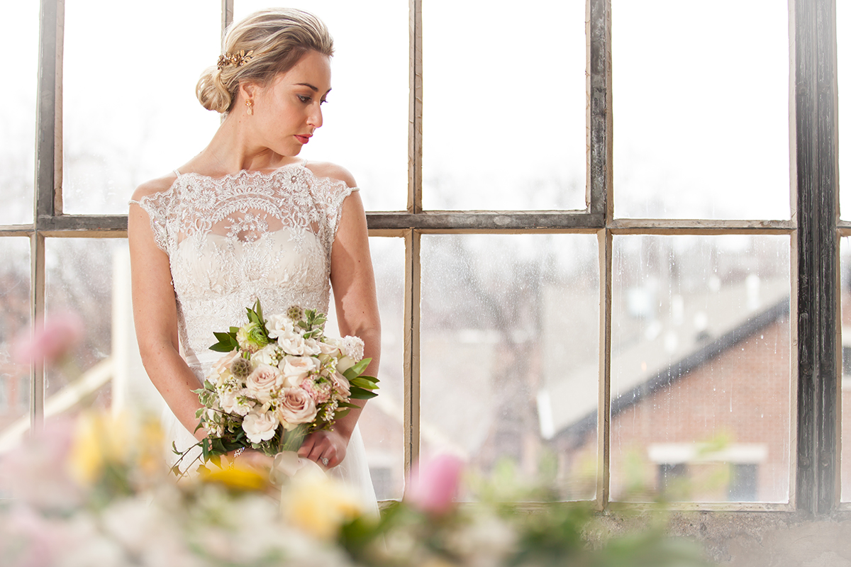 Bride in BHLDN Dress