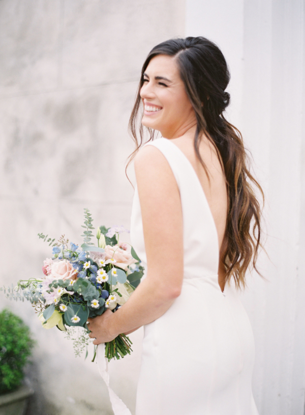 Bride with Blue and Peach Bouquet