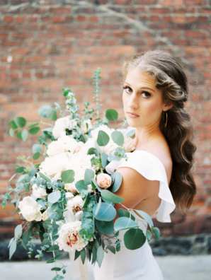 Bride with Large Greenery and Peony Bouquet
