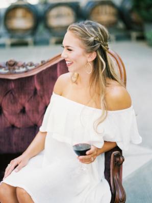 Bridesmaid with White Ruffle Dress