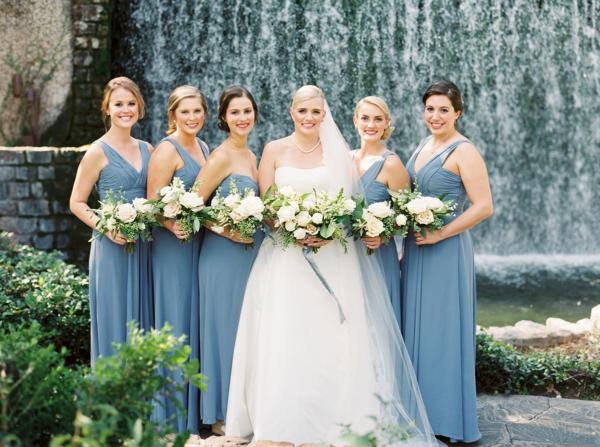 Bridesmaids in Blue Monique Lhuillier Gowns